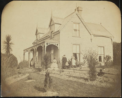 RC2015/4/4/2; Mr and Mrs W.M. Hodgkins, Nursemaid and Two Children (Willie and Isabel) at Frances Hodgkins' birthplace, 32 Royal Terrace, Dunedin