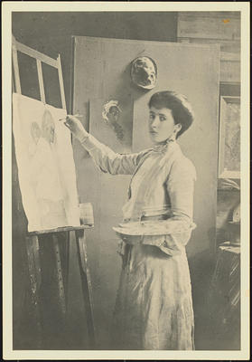 Portrait of Frances Mary Hodgkins Painting at an Easel in her Studio in Bowen Street