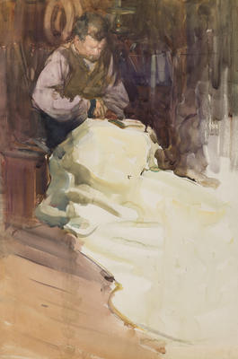FH0486; Untitled [Fisherman Sewing a Sail]