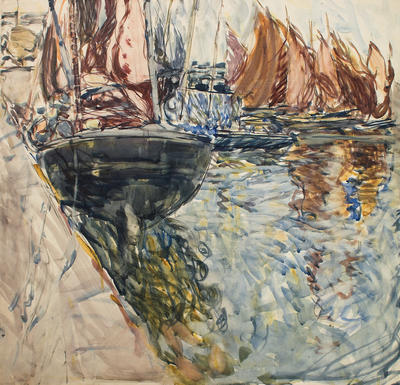 Untitled [Boats by the Harbour Wall]