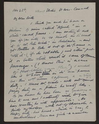 Letter from Frances Hodgkins to Will Field