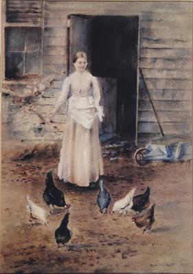 FH0037; Girl Feeding Poultry