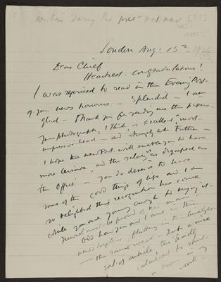 Letter from Frances Hodgkins to Gilbert Hodgkins