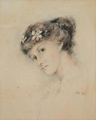 Portrait of a Young Woman with Flowers in Hair