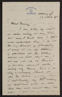 Letter from W H Field to Frances Hodgkins
