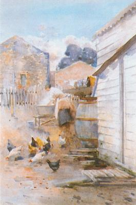 Washerwoman and Hens