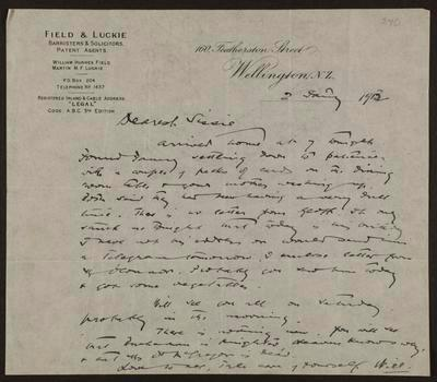 Letter from W H Field to Isabel Field