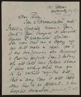 Letter from Isabel Field to Percy Hodgkins