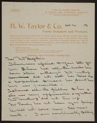 Letter from H.W. Taylor to Frances Hodgkins