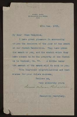 Letter from Louisa Holman Richardson to Frances Hodgkins