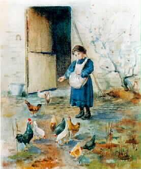 FH0110; Girl Feeding Poultry