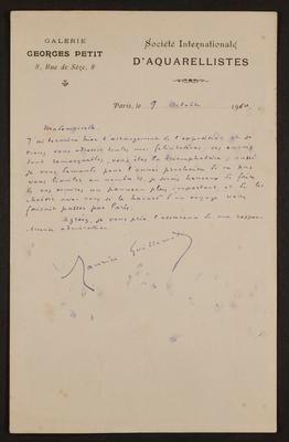 Letter from Maurice Guillemot to Frances Hodgkins