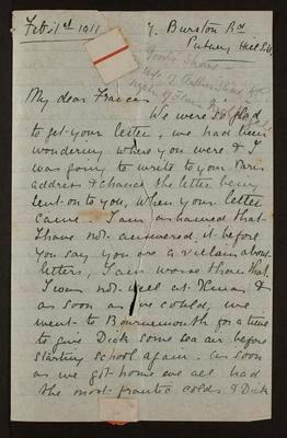 Letter from Goodie Shaw to Frances Hodgkins