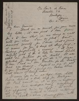 Letter from Bridget to Frances Hodgkins