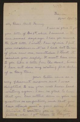 Letter from Geoff Field to Frances Hodgkins