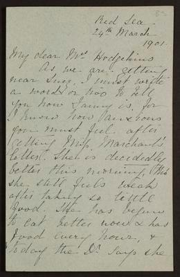 Letter from A Turton to Rachel Hodgkins