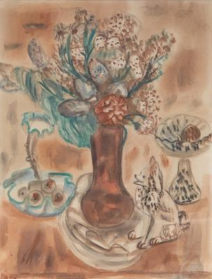 Brown Vase with Flowers