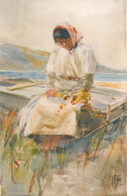 FH0261; Maori Girl on a Boat