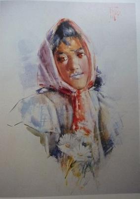 Portrait of a Maori Girl with Headscarf