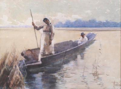 FH0309; Maori Woman and Man in an Old Canoe