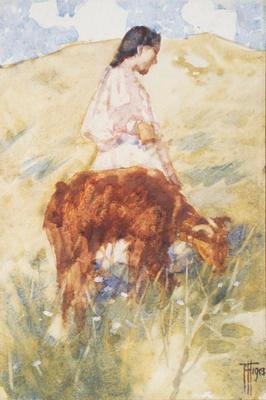 Girl with a Calf