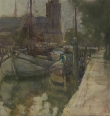FH0462; Canal Beside the Grote Kerk, Dordrecht