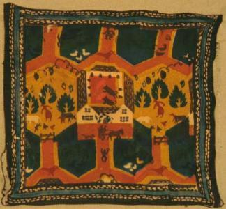 FH0761; Block Print on Silk Handkerchief