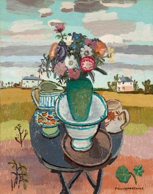 Still Life with Flowers in Landscape