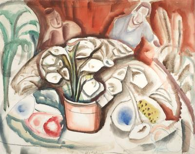 Figures at a Table with Plants