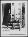 Bert, Frank, Percy [Hodgkins] on steps of Cranmore Lodge